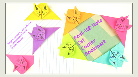 Origami Post-it® Note Fox Bookmark | Post-it® Note Crafts - YouTube | 250x445